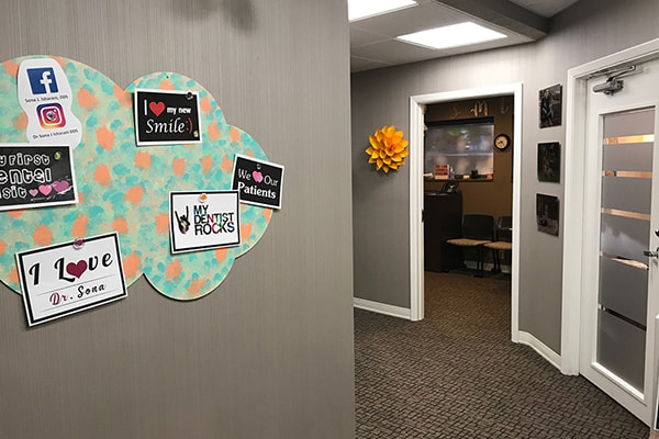 Sona J. Isharani, DDS, Office Tour Client Office Check Out after hallway